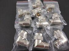 10pk - UHF Male to UHF Female - Right Angle- TFE- Gold Pin -   (U2)