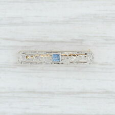 Art Deco Small Bar Pin - 14k Yellow Gold Platinum Filigree Openwork Blue Glass