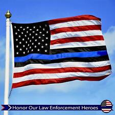 American US Flag Police/Blue Lives Matter Embroidered Star Stripes 3x5