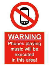 A5 Comedy Workplace Phone Music Sticker - Spillage Hazard Chemical Accident Sign