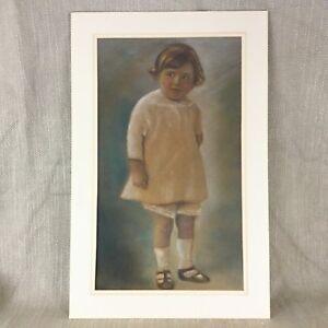 Antique Portrait of a Child Girl Pastel Painting Arthur Rackham Interest