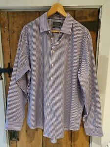 "M&S Mens Purple Stripe Shirt 17.5"" & Regular Fit - Easycare Non Iron"