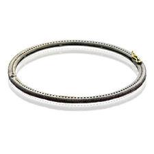 Halloween Sale Pave Ruby Gold 925 Silver Sleek Bangle Bracelet Vintage Jewelry