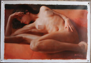"""Unique/Original oil painting on canvas yoga girl female nude painted 24""""x36"""""""