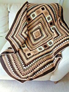 Handmade OOAK Throw Blanket Afghan Campervan Camper Granny Square Brown Cream