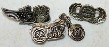 Vintage Harley-Davidson Biker Motorcycle MC Leather Vest Jacket Hat Badge Pins
