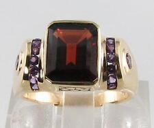 Huge 9K 9Ct Gold Art Deco Ins Madagascan Garnet & Amethyst Ring