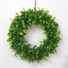 "16.5"" Artificial Green Leaves Wreath for Front Door Hanging Wall Windows Decor"