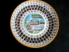 Vintage MID CENTURY Mosaic Tile & Metal CEDAR POINT OH Souvenir Plate Dish Tray