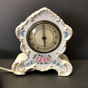 MOVT TELFCHRON Vintage Porcelain Alarm Clock hand painted movement WORKS