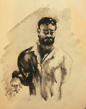 Vintage impressionist watercolor painting smoking male portrait