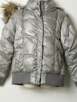 GIRLS GEOX SILVER DETACHABLE HOOD PADDED QUILTED JACKET COAT KIDS AGE 6 YEARS