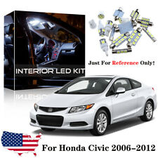 8x White Interior LED Lights Package Kit For Honda Civic 2006-2012 Sedan Coupe