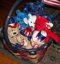 Lot TY 6 PATRIOTIC TEDDY BEARS BEANIE BABIES AMERICANA BASKET KATRINA INDEPENDEN