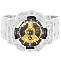 Mens Casio G Shock GA 110 White Tone Black Face Digital Bling Bezel Band Watch