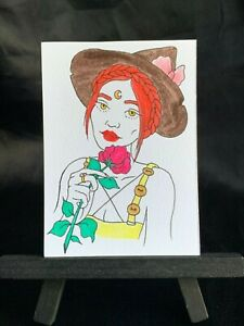 ACEO Original Halloween Spirit Medium Black Ink Marker on Paper Signed by Artist