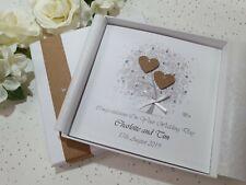 Wedding Day Congratulations Card Handmade Personalised envelope or box rustic