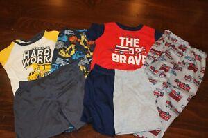 Boy Carter's 3 Piece Short Sleeve Pajamas Fire Trucks, Construction size 5t-5
