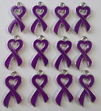 12 Enamel Purple Ribbon Heart Cancer Awareness Charms Jewelry Making P1