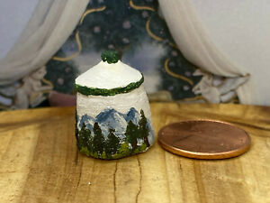 Dollhouse Miniature Artisan Signed - Canister hand carved & hand Painted