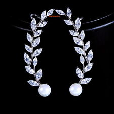Silver Posts White Pearl Leaf Ear Cuff Earring Made With Swarovski Crystal XE69