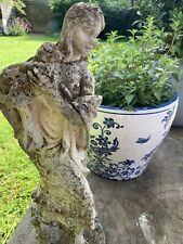 "Vintage Weathered Stone Garden Statue Lady Figurine, Shepherdess + Lamb 16"" Tall"