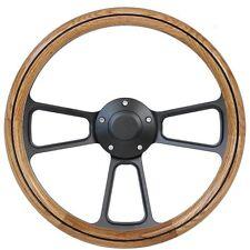 Hot Rod Rat Rod Steet Rod Classic Real Oak / Black Billet Steering Wheel & Horn