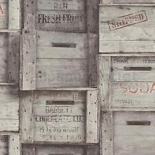 Fine Decor - Grey Wood Crates - Fruit / Wine Wooden Boxes -  Wallpaper FD40944