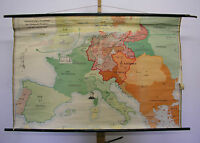 Schulwandkarte alte Wandkarte Karte Französische Revolution 137x91~1958 Napoleon