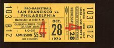 Oct 28 1970 NBA Basketball Full Ticket San Francisco vs Philadelphia 76'ers NRMT