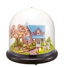 DIY Wooden Dollhouse Kit Miniature Sakura Cherry Blossom Appointmen +Glass Cover