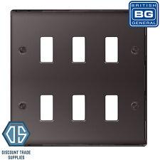 BG Nexus Metal Black Nickel 6 Gang Metal Front Cover Plate GNBN6