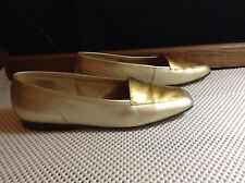 Enzo Angiolini Womens Gold Bronze Leather Slip On Flats  Size 7.5 M Liberty