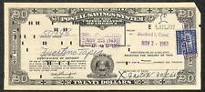 SCOTT #1047 LIBERTY STAMP $20 POSTAL SAVINGS CERTIFICATE CONNECTICUT 1963