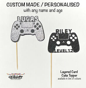 PLAYSTATION CONTROLLER GAME GAMER THEME CAKE TOPPER CUSTOM PERSONALISED ANY NAME