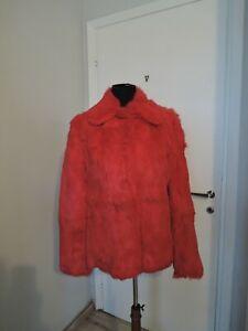Rasperry red real coney fur furcoat furjacket UK 14 M 40 fur coat jacket