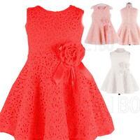 2-6 Kids Girls Flower Sleeveless Hollow Lace Dress Princess Party Wedding Gown
