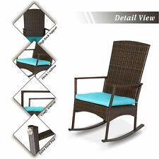 New listing Patio Wicker Rocking Chair Rattan Deck Rocker Outdoor Furniture W/ Blue Cushion