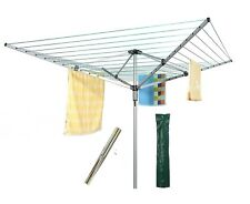 60M 4 Arm Steel Rotary Airer Clothes Dryer Laundry Washing Line Ground socket ES