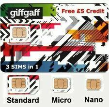 2x GiffGaff 3in1 * Standard, Micro, Nano SIM * Free £5 Credit Free UK Postage
