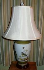 Porcelain Table Lamp with colorful Birds eating berries & insects. Lily of the V