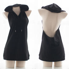 Women's Sexy Backless Vest Fleece Large Hollow Out Jumper Skirt Gothic Tops