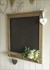 Chalk Board Wall Vintage Shabby Chic Message kitchen Notice Rustic Hooks Shelf