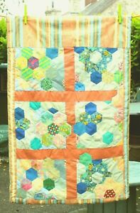 SMALL HANDMADE BABY'S PATCHWORK QUILT WITH STRIPED LINING