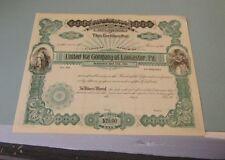 1901 United Ice Company of Lancaster Pennsylvania Stock Certificate Antique