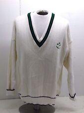 Men's Celtic knitwear Irish v-neck sweater cream and green XL