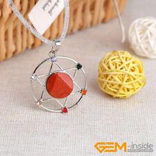 Assorted Gemstone Necklace Hexagonal Star Dowsing Pendulum For Divination Chain