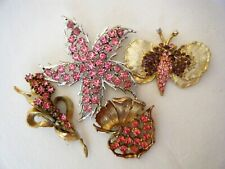 Vintage ESTATE PINK Floral Rhinestone Brooch Lot of 4 - Dodds Butterfly