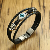 Men Braided Bracelet Evil Blue Eye Multi Layers Surfer Wristband Gothic Lucky