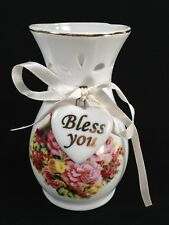 Lily Creek White Vase Bless You Heart Ribbon Red Pink Yellow Flowers Gold Trim
